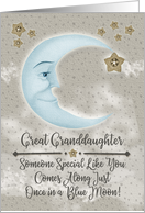 Happy Birthday Great Granddaughter Blue Crescent Moon and Stars card