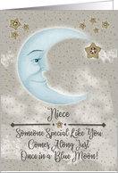 Happy Birthday Niece Blue Crescent Moon and Stars card
