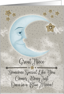 Happy Birthday Great Niece Blue Crescent Moon and Stars card