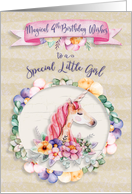 Happy 4th Birthday to a Special Little Girl Pretty Unicorn and Flowers card