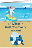 Happy Birthday to Son Ocean Scene with Sharks card