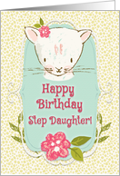 Happy Birthday to Step Daughter Cute Kitty and Flowers card