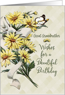 Happy Birthday Great Grandmother Vintage Flowers with Butterfly card