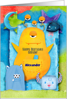 Happy Birthday to Godson Custom Name Funny and Colorful Monsters card