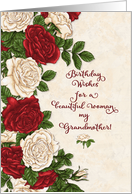 Happy Birthday to Grandmother Beautiful Red and White Roses card
