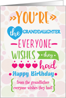 Happy Birthday to Granddaughter from Grandfather Humorous Word Art card