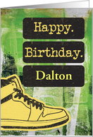 Happy Birthday Custom Name, Sneaker and Word Art Grunge Effect card