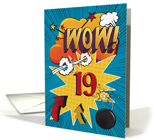 19th Birthday Greeting Bold and Colorful Comic Book Style card