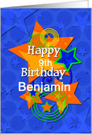 Happy Birthday Awesome Boy Custom Name and Age Stars card