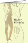 Virgo sign birthday, zodiac signs, Illustration of the female form card