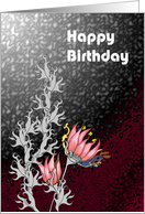 Birthday, Abstract florals card