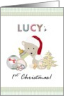 Lucy's 1st Christmas, teddy in santa's hat holding milk bottle, toys card