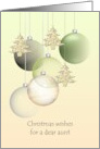 Aunt Christmas greeting, glass baubles and holiday tree ornaments card