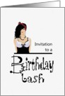 Birthday party invitation, hip looking young lady card