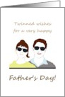 Father's Day from twin boy and girl, twinned wishes for dad card