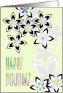 Birthday black white and grey florals with a touch of color card