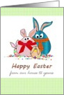 Easter from our house to yours, family of Easter eggs dressed up with bunny ears card