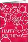 Birthday, white geometric shapes against bright pink background card