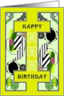 Birthday, geometric shapes against a mustard green background card