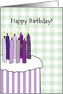 Birthday purple cake stripes, huge birthday cake and candles card