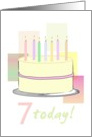 7th birthday, cake with 7 candles in pastel colors card