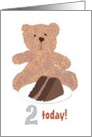 2nd birthday, teddy and chocolate cake card