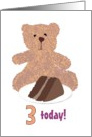 3rd birthday, teddy and chocolate cake card