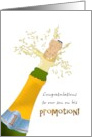Congratulations, promotion for son, popping a bottle of bubbly card