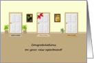 New apartment congratulations, apartment doors card