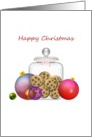 Christmas, colorful baubles and cookies in a jar card