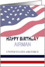 Birthday for United States Air Force airman, Stars and Stripes card