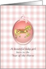 Baby girl born in the Year of the Horse, cute prancing horse card