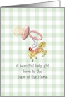 Baby girl born in the Year of the Horse, pacifier and cute horse charm card
