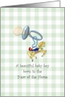 Baby boy born in the Year of the Horse, pacifier and cute horse charm card