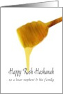 Rosh Hashanah for nephew and family, honey on honey spoon card