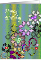Birthday, abstract colorful florals tumbling down card