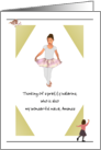 Custom Relation and Name, Thinking of You for Kids, Young Ballerina card