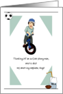 Custom Relation and Name, Thinking of You for Kids, Boy on Bicycle card