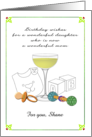 Birthday for Daughter Who Is New Mom, Champagne Pacifier Rattle card