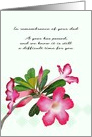 In Remembrance of Dad 1st Year Anniversary, Desert Rose Blooms card