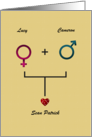 Announcement New Baby Gender Symbols and Red Heart Custom Name card