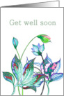 Get Well, Feel Better, Hand drawn abstract florals card
