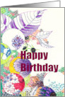 Birthday, Hand drawn abstract of leaves and floral spheres card
