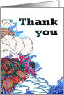 Thank you, drawing of abstract colorful sea coral card