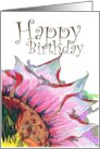 Birthday, abstract drawing of a flower card
