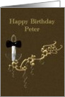 Birthday, Name Specific, Peter, Candle Lamp & Black Bow Tie card
