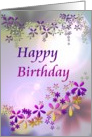 Birthday, Abstract florals in purple, pink, green and yellow card