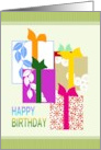Illustration of presents wrapped in patterned paper, Birthday card