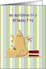Invitation to a Birthday Tea Party, Cute tea set and chocolate cake card