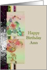 Birthday, For Ann, Abstract florals in soft tones card